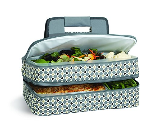 level Thermal Insulated Hot and Cold Pot Luck Food Carrier with Bonus Containers by Picnic Plus Grey Mosiac ()