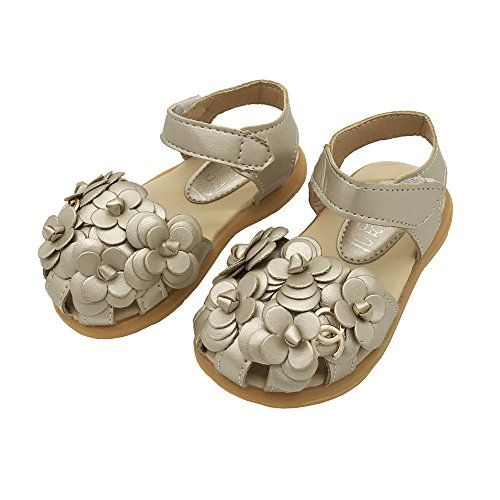 LINKEY Toddler Girl's Summer Closed Toe Floral Sandals Princess Flat Shoes Golden Size 22 ()
