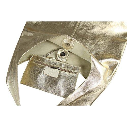 OBC Only-Beautiful-Couture - Bolso al hombro para mujer Negro Schwarz-Metallic ca.: 43x32x17 cm (BxHxT) dorado