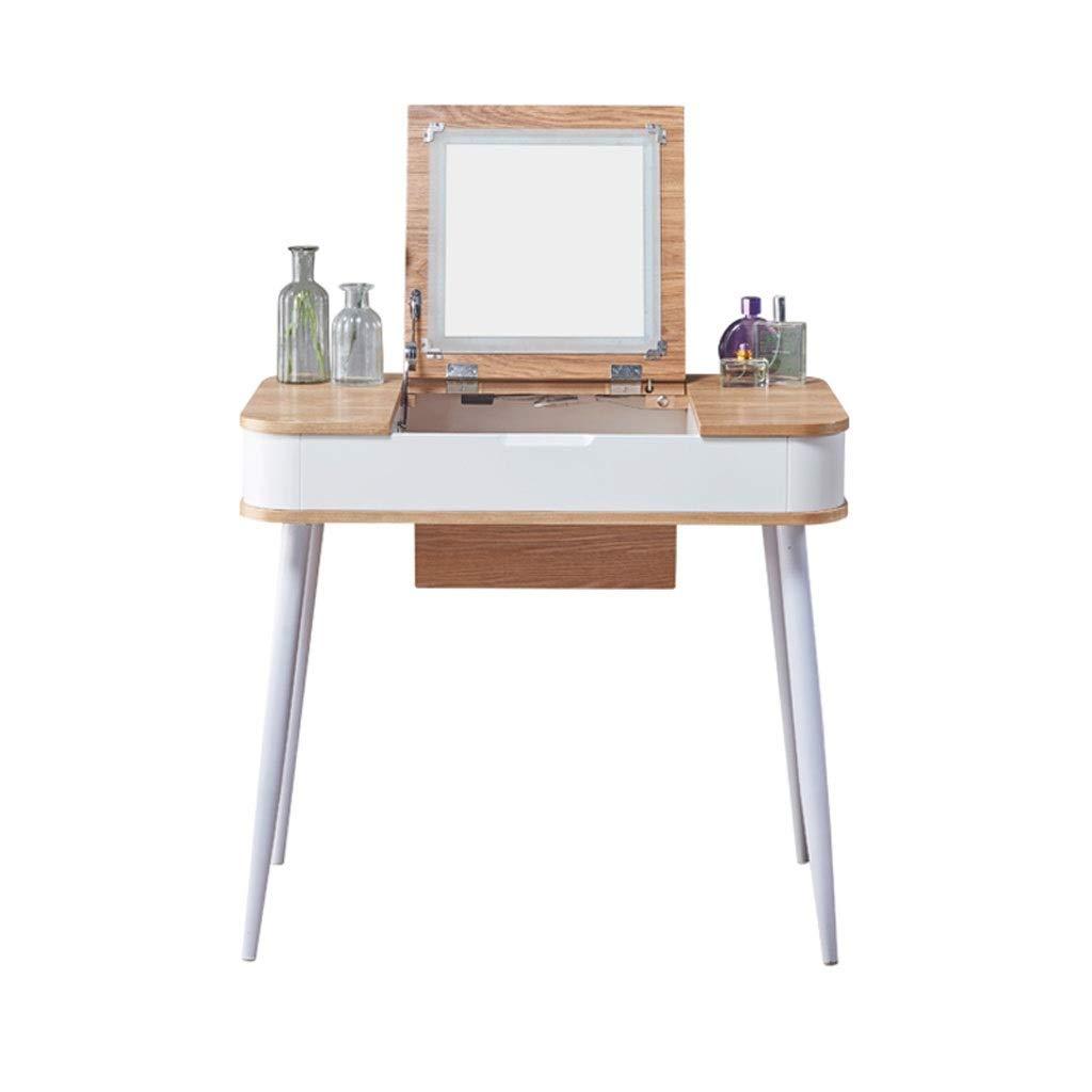 Multifunktionales Schlafzimmer-Ankleidetisch, Schminktisch-Set, inklusive Makeup-Hocker und Spiegel, Multifunktions-Schreibtisch (weiß) (Color : A, Größe : M)