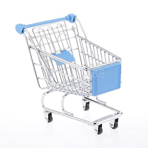 Kids Shopping Fun Entertainment Pretend Play Handcart Trolley Toy Sky Blue M