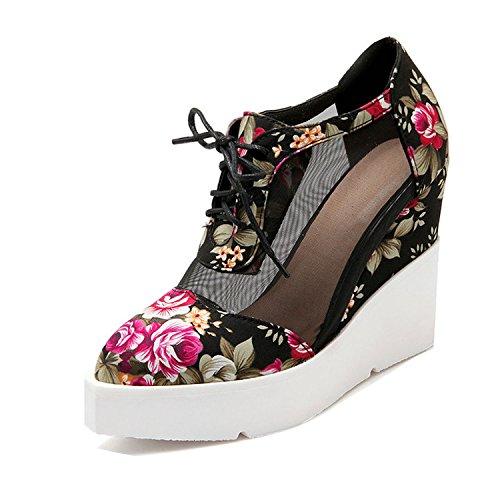 Sky-Pegasus Ankle Strap Summer Pumps for Women Flower Print Wedges Platform sandal3 Colors Size 34-43,Black,10