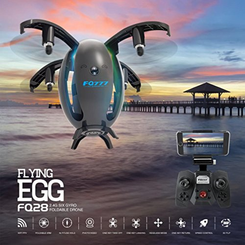 Inverlee Egg Shaped Wifi FPV Drone FQ777 FQ28 6-Axis Gyro 2.0MP Camera Quadcopter,Great Xmas Gift (Black) by Inverlee