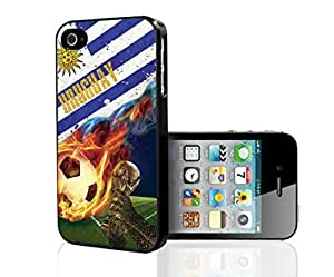 Blue, White, and Yellow Uruguay Team Flag with Colorful Fiery Soccer Ball Hard Snap on Phone Case (iPhone 4/4s)