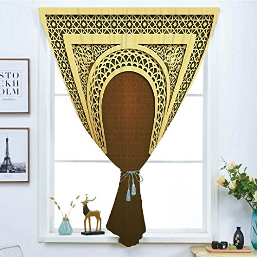 Blackout Curtain Free Punching Magic Stickers Window Curtain,Moroccan,Middle Eastern Ramadan Greeting Scroll Arch Figure Celebration Holy Eid Theme,Golden Brown,for Living Room Bedroom, study, kitchen by iPrint
