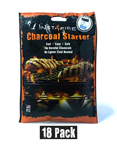 Fire Charcoal (Instafire Charcoal Briquette Fire Starter Pouches for Grills, Smokers, More - Chemical Free, Awarded 2011 Innovative Product Of The Year,18 Pk)