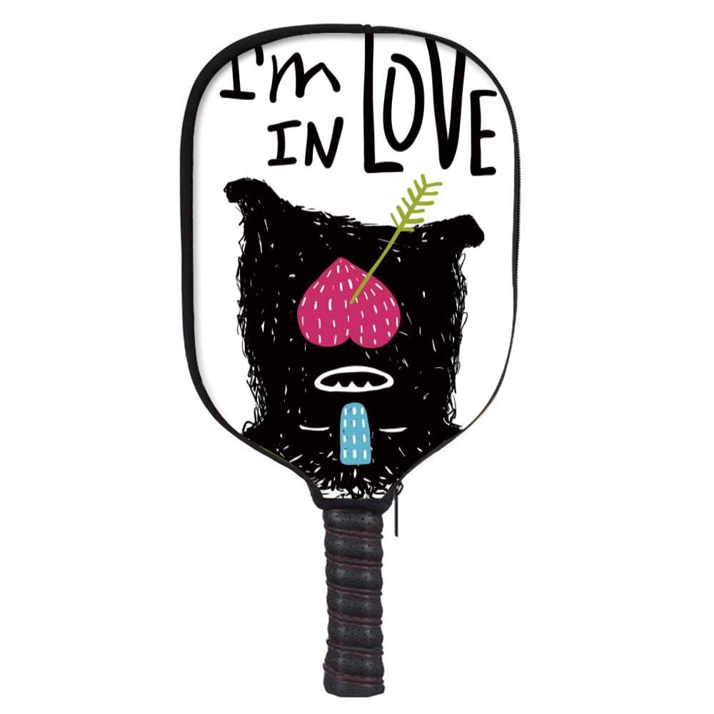 Quirky Decor Fashion Racket Cover,Cute Hairy Monster Mascot Upside Down Faint Falling in Love Theme Arrow Heart Decorative for Playground,8.3'' W x 11.6'' H