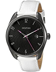 Nixon Womens A473486 Bullet Leather Analog Display Japanese Quartz White Watch