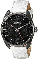 Nixon Women's A473486 Bullet Leather Analog Display Japanese Quartz White Watch