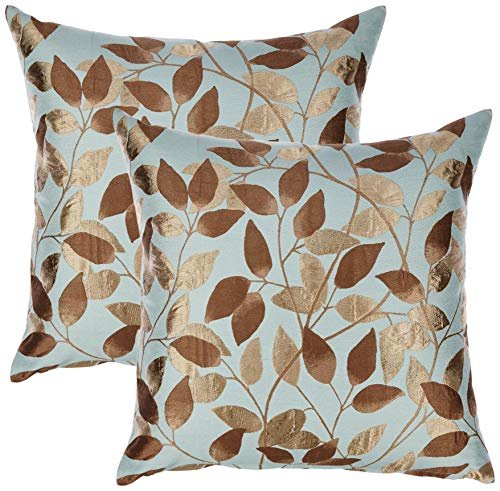 Redearth Designer Square Jacquard Throw Pillow Covers Woven Cushion Cases Set for Couch, Sofa, Bed, Farmhouse, Chair, Dining, Patio, Outdoor, car; 25% Silk, 75% Viscose (18x18; Pale Green) Pack of 2 (Luxury Furniture Designer Outdoor)