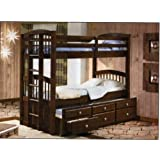 Amazoncom Wood Twin Size Bunk Bed Bunkbed With Trundle Storage