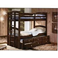 Twin/Twin Captains Bunk Bed with Trundle and Storage Drawers - Cappuccino Finish