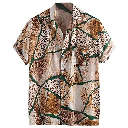 Trule Casual Shirts Summer Mens Print Shirts Casual Short Sleeve Beach Tops Loose Turn-Down Collar Blouse Brown