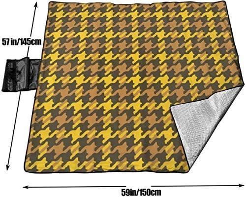 N/A - Grande coperta impermeabile da picnic per esterni, scozzese, prendisole, colore oro, sabbia, per campeggio, escursionismo, erba, viaggi