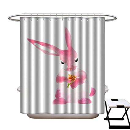 Amazon Dongingp Floral Shower Curtain Watercolor Easter Bunny