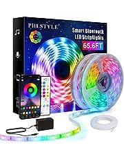65.6ft/20m LED Lights for Bedroom Music Sync, App Controlled Bluetooth LED Lights Rope, 16 Million Color Changing LED Strip Lights with Key Remote, Sensitive Built-in Mic, 5050 RGB LED Light Strip