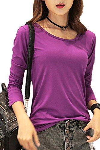 Manga larga camiseta ocasional Yacun mujer Purple