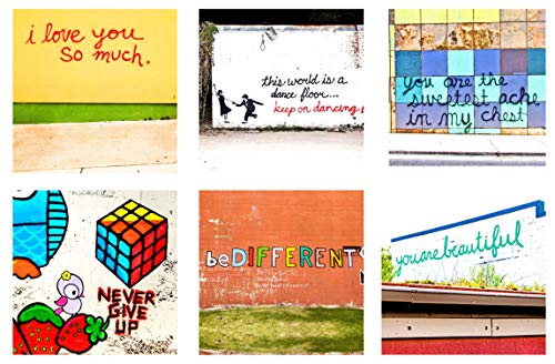 SOUTH AUSTIN GALLERY- Handcrafted Motivational Coaster Set - Ceramic Coasters- Set of 6- Vibrant Mural Art-Hostess Coaster Set -Made and Inspired In The USA]()