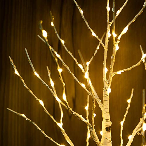 Artificial Decorative Centerpiece | 24 Warm White LED Star USB Operated| Tabletop Decoration Light Tree | Christmas…