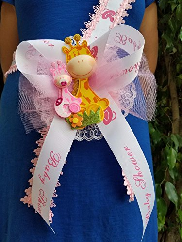 (Baby Shower Mom To Be It's a Girl Giraffe Sash Pink Safari Ribbon Corsage Noah's)
