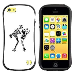 Suave TPU GEL Carcasa Funda Silicona Blando Estuche Caso de protección (para) Apple Iphone 5C / CECELL Phone case / / white black design fashion dress /