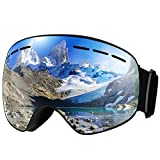 Ski Goggles,Patec Snowboard Skate Goggles,Over Glasses Ski Goggles for Men,Women & Youth Snowmobile Skiing Skating with Anti-fog Big Spherical Double Lens,100% UV400 Protection,Interchangeable Spherical Dual Lens,Upgraded Ventilation System