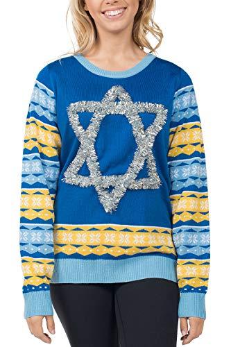 Tipsy Elves Women's Tacky Ugly Hanukkah Sweater - Star of David Chanuka Sweater: XL Blue (Of Star David Christmas Sweater)