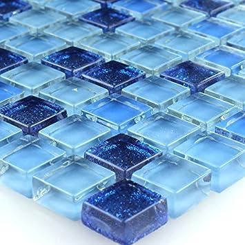 Glasmosaik Fliesen Blau Glitzer 15x15x8mm Mosaikfliesen Badfliesen