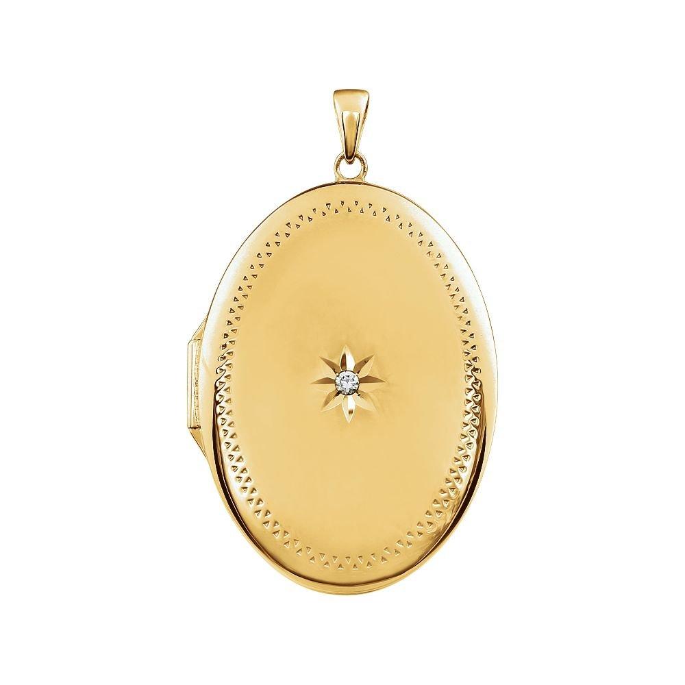 JewelryWeb 14CT Jaune Plaqué Argent Sterling Médaillon Ovale avec Oxyde de Zirconium