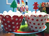 [ Momoka's Apron ] 36 ct. Christmas Cupcake Set: Brown Baking Cups, Toppers & Wrappers - Standard Size