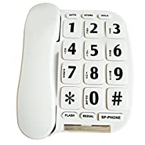 LeeKer LK-P011W Big Button Corded Phone for Elderly with Handsfree Speakerphone/Hearing Aid compatible(White)