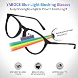 Yaroce Blue Light Blocking Glasses, Anti Eye Strain Computer Glasses, Vintage Retro Round UV Filter Blue Blocker Glasses for Women Men, Gaming TV Glasses Non Prescription - Black