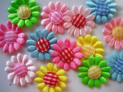 100 Daisy Satin Flower+Gingham Center Mix Set Applique/Craft/Trim/Fabric/Bow #ID-892