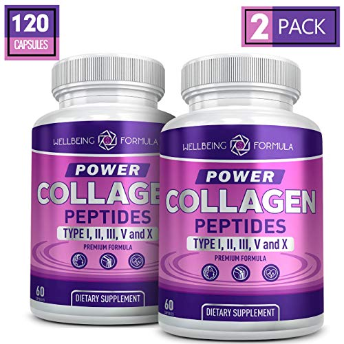 Premium Multi Collagen Peptides Capsules-Type I,II,III,V,X Anti-Aging Formula Hydrolyzed Protein Collagen Supplement for Women & Men-Collagen Pills for Healthy Skin, Hair, Strong Joints, Bones & Nails
