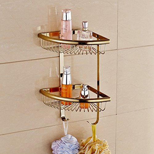 Bathroom Wall Mounted Brass Corner Shower Basket Double Shower Basket (Polished Brass Finish) by GUMA
