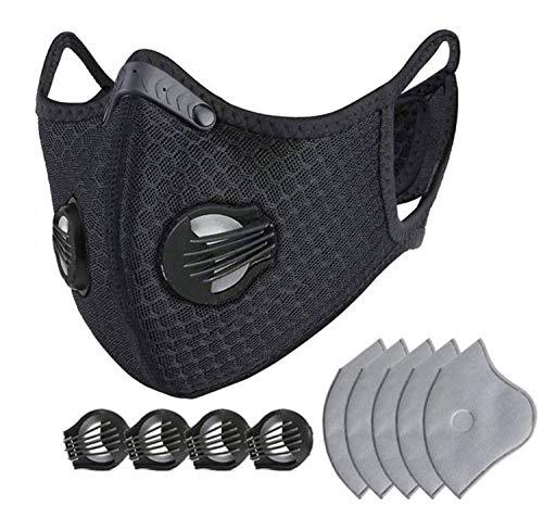 Sportmasker tegen stof voor fietsers en outdooractiviteiten, wasbaar, met 5 actieve koolfilters en 4 reserveventielen