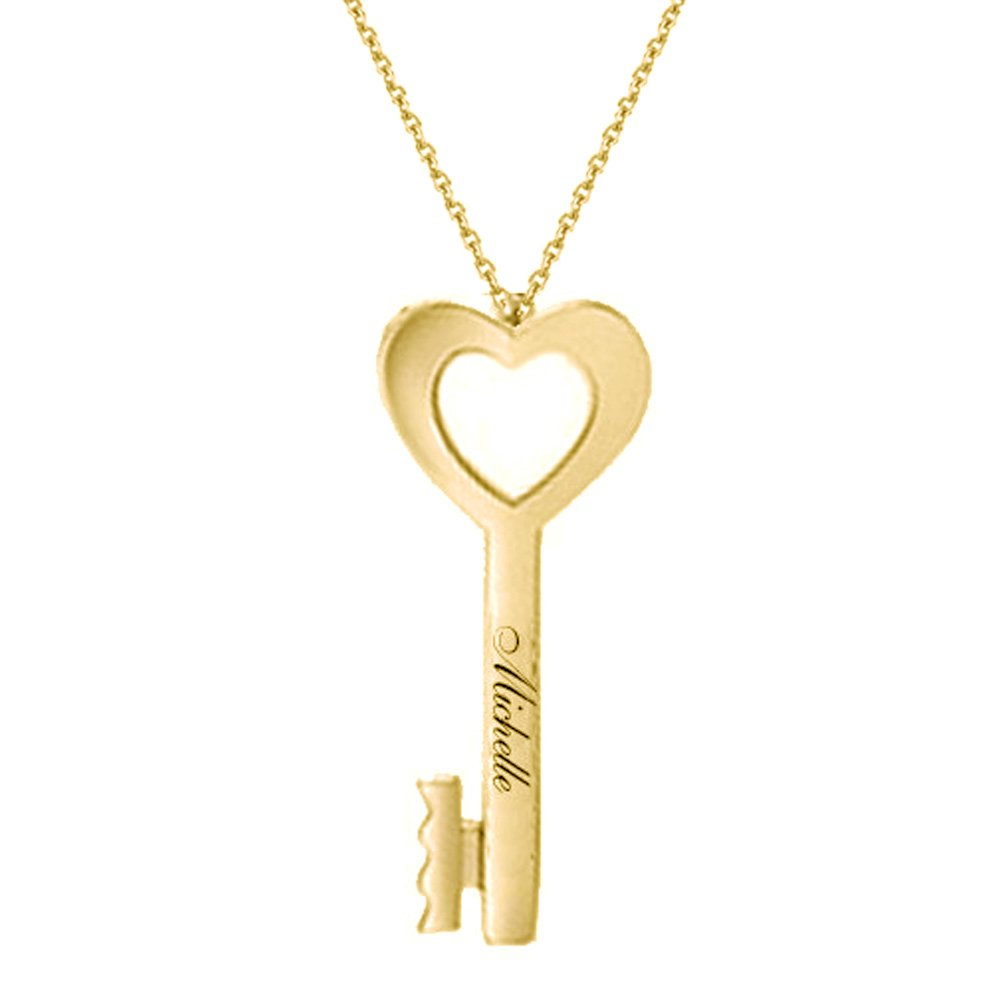 Ouslier Personalized 925 Sterling Silver Heart Shape Key Pendant Name Necklace Custom Made with Any Name