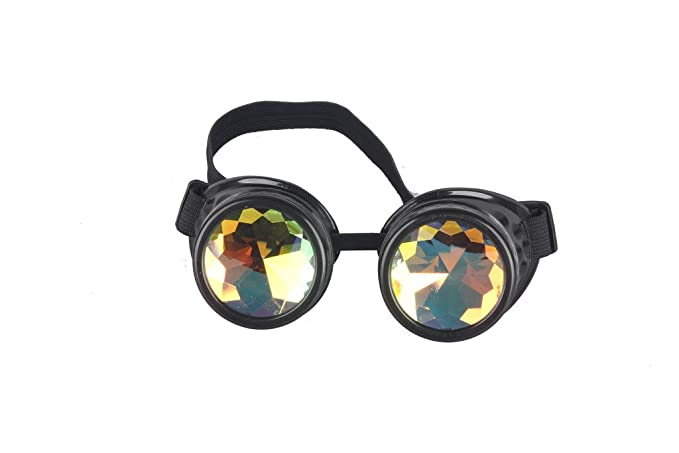 355952081bbb Sexy Forever FLORATA Chrome Kaleidoscope Vintage Rave Glasses with Rainbow  Crystal Glass Lens for Halloween Cosplay Goggles