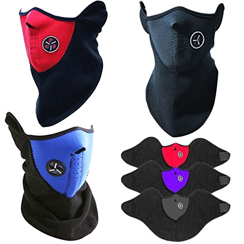 Fitwhiz Unisex Ski Mask Neck Warmer, Neoprene Face Mask Winter Cold Weather Face Mask for Motorcycles, Bicycle, Skiing, Running Face Mask,Mountain Climbing - Balaclava Face Masks, jet ski mask (Red) Neoprene Neck Shield