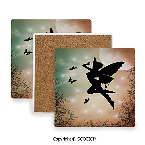 Ceramic coaster With wood Bottom Protection, For Mugs, Wine Glasses, Protects Furniture Square,Apartment Decor,Black Fairy with Angel Wings Butterflies,3.9