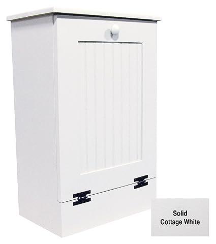 Tilt Out Wooden Trash Cabinet Solid Cottage White