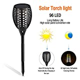 UPBASICN Solar Torch Light, IP65 Waterproof Realistic Flames Solar Powered 96 LED with Span Life up to 50000hTorch Light Outdoor Landscape Decoration Path Lighting Dusk to Dawn Auto On/Off (1 Pack)