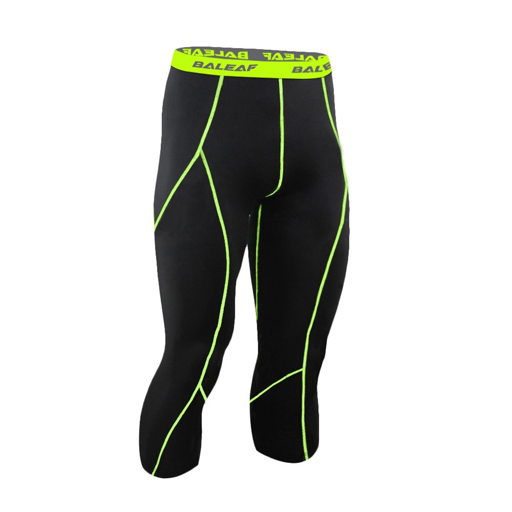 Baleaf Collant de running fitness 3/4 pour homme, avec aération, tenue de compression