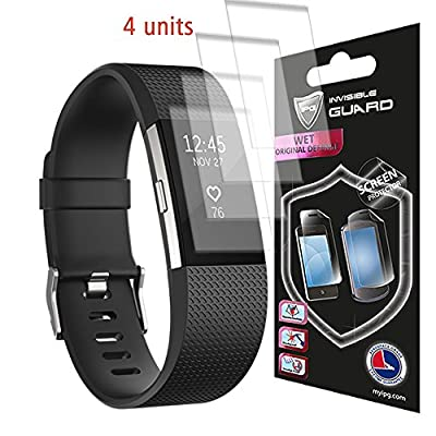 Fitbit CHARGE 2 Watch Screen (4 Units) Invisible Protector Skin Anti-Bubble / Ultra HD Clear Shield Anti Scratch By IPG