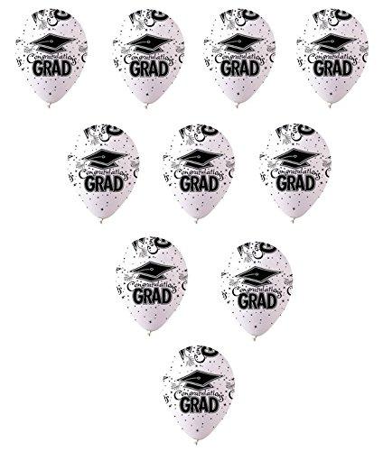 10カウントホワイトブラック卒業式Grad Cap帽子Congratulations 12
