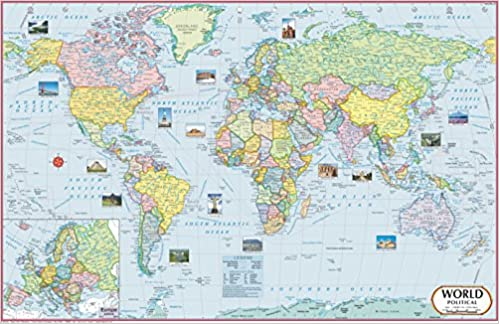 Buy World Map Political X Cm World Map Book Online - World maps online