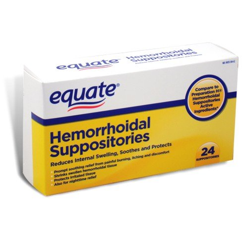 - Equate Hemorrhoidal Suppositories 24 Ct