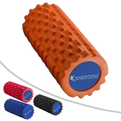 Foam Roller by SmarterLife | Portable Massager for Pre Workout, Physical Therapy, Recovery after Yoga, Pilates, Cycling and Running (Orange)