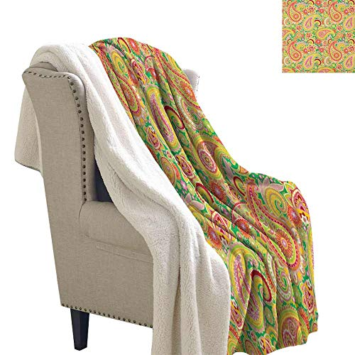 Willsd Paisley Baby Blanket Traditional Persian Paisley Pattern Print with Eastern Ethnic Elements Vintage Personalized Baby Blanket Multicolor W59 x L78