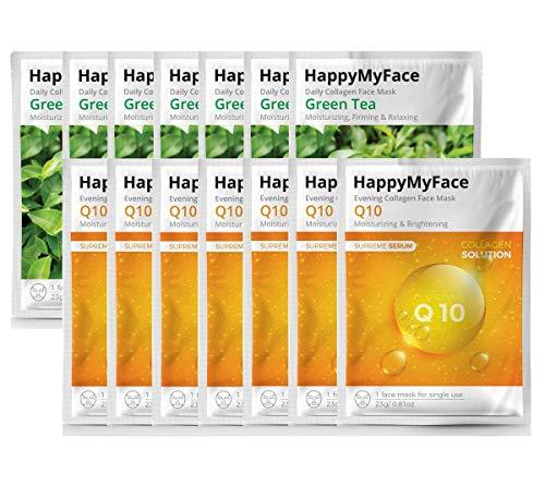 Happymyface Daily Collagen Face Mask Sheet, 14 packs, Anti-Wrinkle, Anti-Aging, Deep Moisturizing, 100% Cotton, Collagen Serum